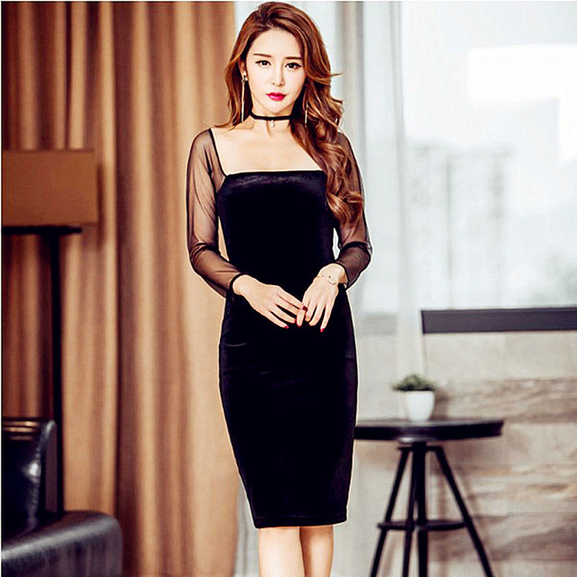 Women Spring Plus Size Black Velvet Dresses Mesh Patchwork Square ...
