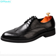 QYFCIOUFU Fashion Mens Business Shoes Brand Luxury Dress Shoes  Genuine Leather High Quality Cow Leather Elegant Brogue Shoes