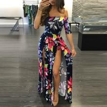Women Dress 2018 Summer Long Maxi Dress Women Floral Print Dress Ankle-Length High Slit Bohemian Dress Female Big Size see through random floral long sleeves slit maxi dress