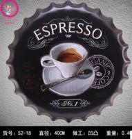 40cm Coffee Cup Beer Bottle Cap Vintage Home Decor Tin Sign Bar Wall Decor Metal Sign 3D Wall Decor Metal Plaque Metal Poster