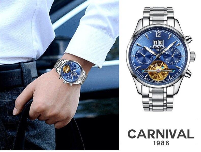 Homens automáticos Auto Vento Relógios Masculinos de Luxo Da Marca Tourbillon Relógio Mecânico Casual Vestido À Prova D' Água Esporte Relógio Suíça - 3