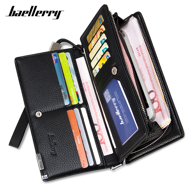 Baellerry Brand Large Capacity Clutch Wallet Men Synthetic Leather Long Wallets Male Card Holder Wristband Business Purse Man
