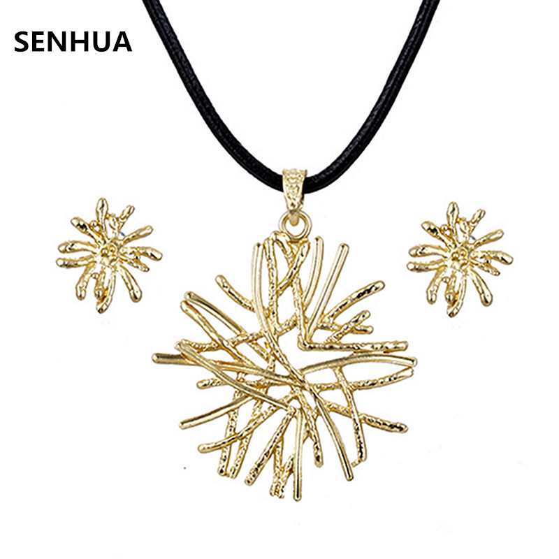 Metal Silver Gold Coral Jewelry Sets Party Gifts Wholesale Trendy Plant Stud Earrings Leather Necklace Sets For Women Girls TZ72
