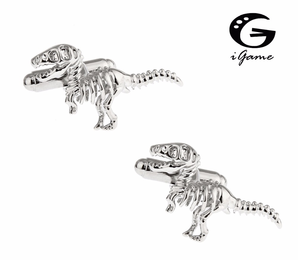 IGame Dinosaur Cuff Links Silver Color Copper Material Vintage 3D Tyrannosaurus Rex Dinosaur Skeleton Design Free Shipping
