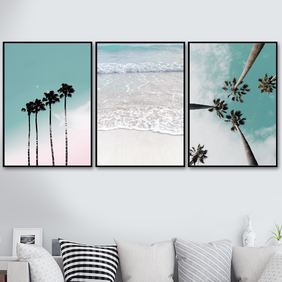 Canvas Painting Wall-Pictures Sea-Umbrella Coconut-Palm-Tree Living-Room-Decor Nordic Posters