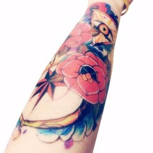 8D Temporary Tattoo Flower Rose Eye Jewel Mysterious Tattoos Stickers For Lower Arm Body Art Tattoo Sticker Sleeves