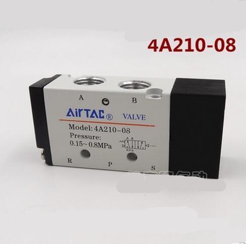 4A210-08 5 Way 2 Position Airtac Air Control Solenoid Valve 1/4 BSP 5/2 Type airtac solenoid valve 3v220 08 3v200 series 3 2 way 1 4 bspt pneumatic air control valve