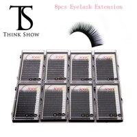 Thinkshow 8 шт. естественный длинные черные ресницы B/C/D локон Синтетические Ресницы 3D ресницы Hand сделано ресницы для макияжа