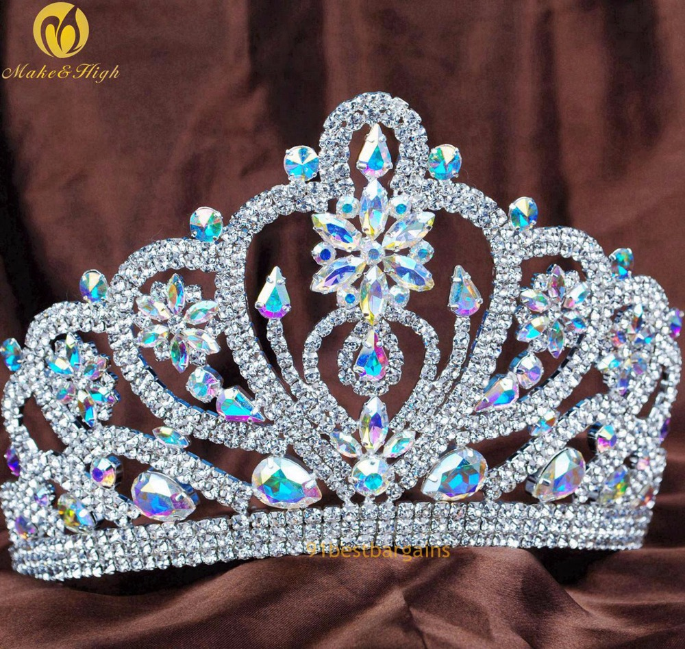 Flroal 4.5 AB Crystal Tiara Diadem Flower Brides Bridal Rhinestone Hair Crown Headpiece Wedding Prom Pageant Party Costumes цена