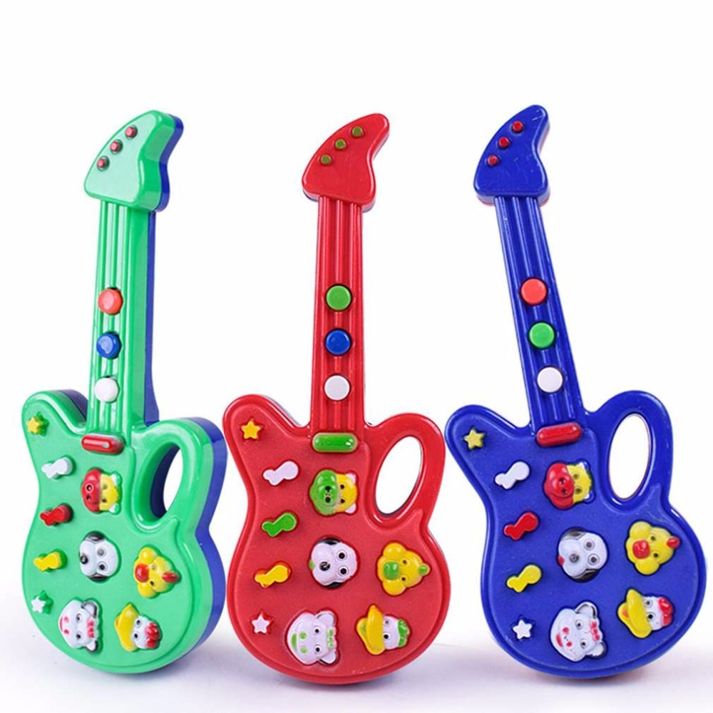 YKS Toy Music Electric Guitar Toys for Kids Baby Nursery Rhyme Music Simulation Plastic Guitar Baby Kids Best Gift Random Color image