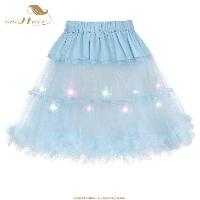 6262ae142 € 10.13 20% de DESCUENTO Fashion colorido LED mujeres falda mullida del  Petti Faldas tulle Faldas Niñas princesa party falda para la señora falda  ...