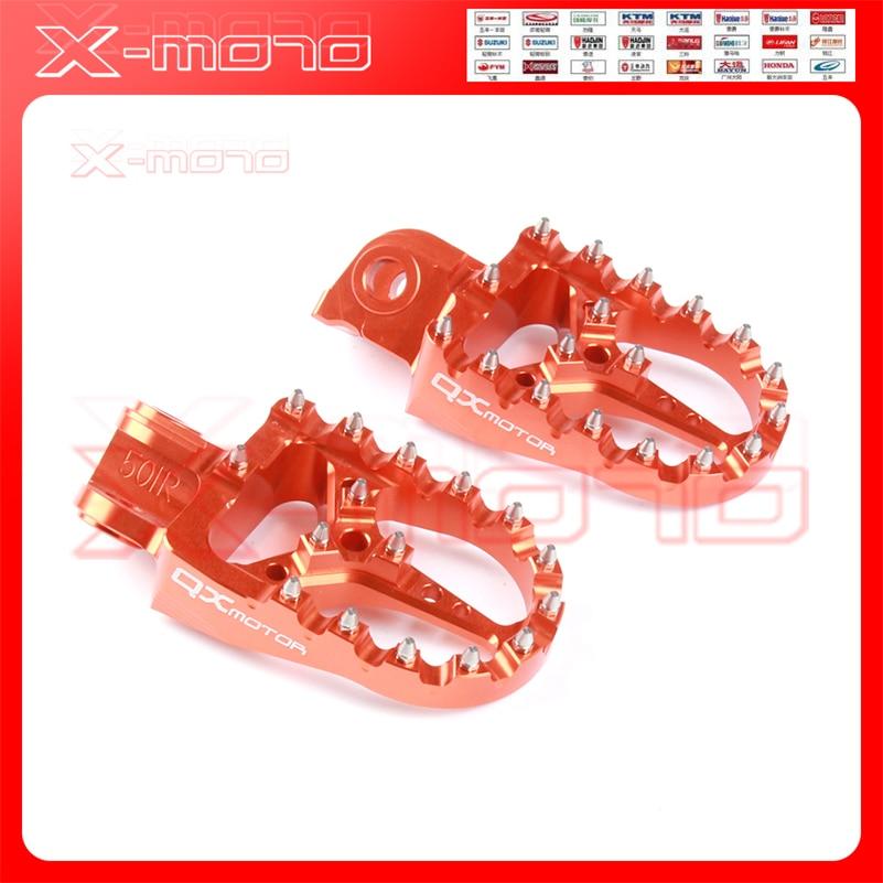 Repose-pieds CNC orange avec billette MX repose pédales repose-pieds pour KTM SX SX-F EXC EXC-F pièces de moto Logo QXMOTOR