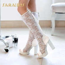 цены SaraIris Women's Square High Heels Open Toe Platform Summer Shoes Woman Breathable Lace Upper Knee Boots
