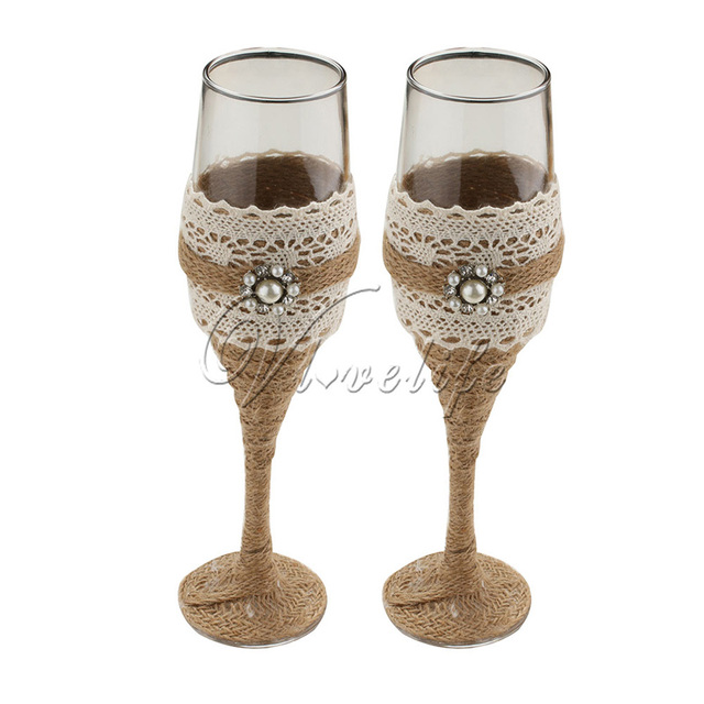 High Quanlity 2Pcs Set Burlap Wedding Toasting Glasses Transparent Red Wine Cup Champagne Gift