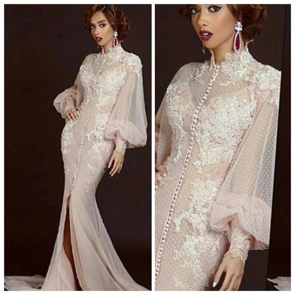 Mermaid Appliques Front Slit Peach Prom Arabic Evening Gowns Dresses ...