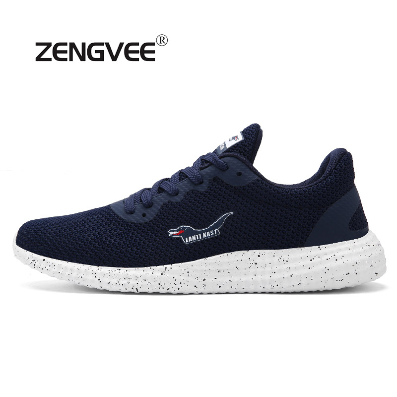 ZENGVEE 2017 Lace-Up Fashion Casual Mesh Colth Men Shoes Summer Breathable For Men Light Comfortable Flats Size39-44 men shoes summer breathable lace up mesh casual shoes light comfort sport outdoor men flats cheap sale high quality krasovki
