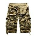 2017 Homens Casuais De Carga Curto Dos Homens de Verão Estilo Macacão de Camuflagem Solto Multi-Bolso Shorts de Algodão dos homens Tamanho da Roupa 38