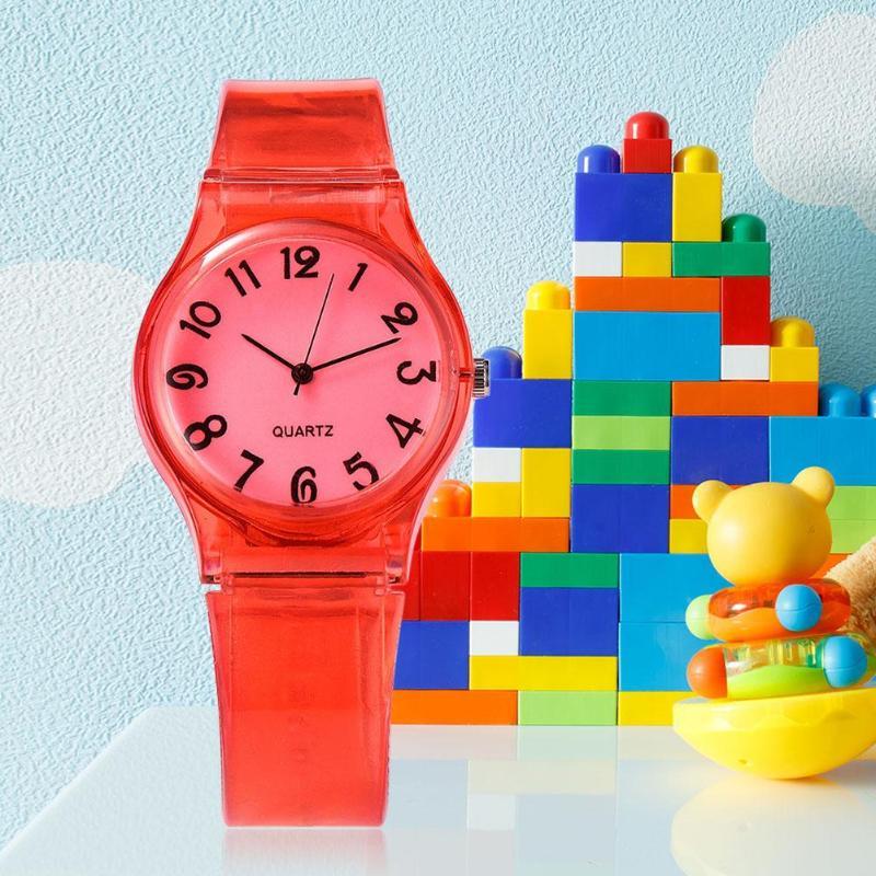 Silicone Strap Quartz Watches Boys Girls Round Dial Analog Kids Wristwatch
