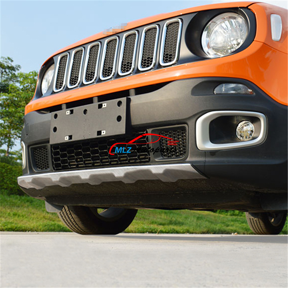 Car Front Rear Under Bumper Protector Sill Plate Cover Trunk Guard Trim Stainless Steel For Jeep Renegade 2015 2016 stainless steel rear bumper protector plate sill trunk guard cover trim 2pcs accessories for volkswagen vw tiguan l 2017
