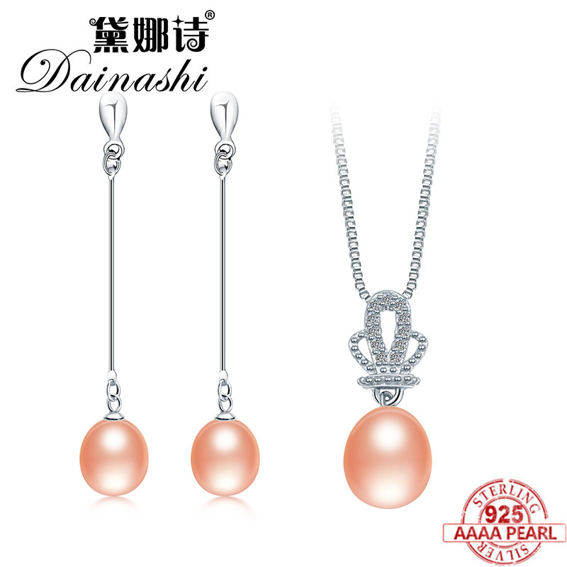 Dainashi Trendy Pearl Sets 925 Sterling Silver 100% Real Freshwater Pearl Fine Jewelry for Women Long Earrings and Pendant Sets