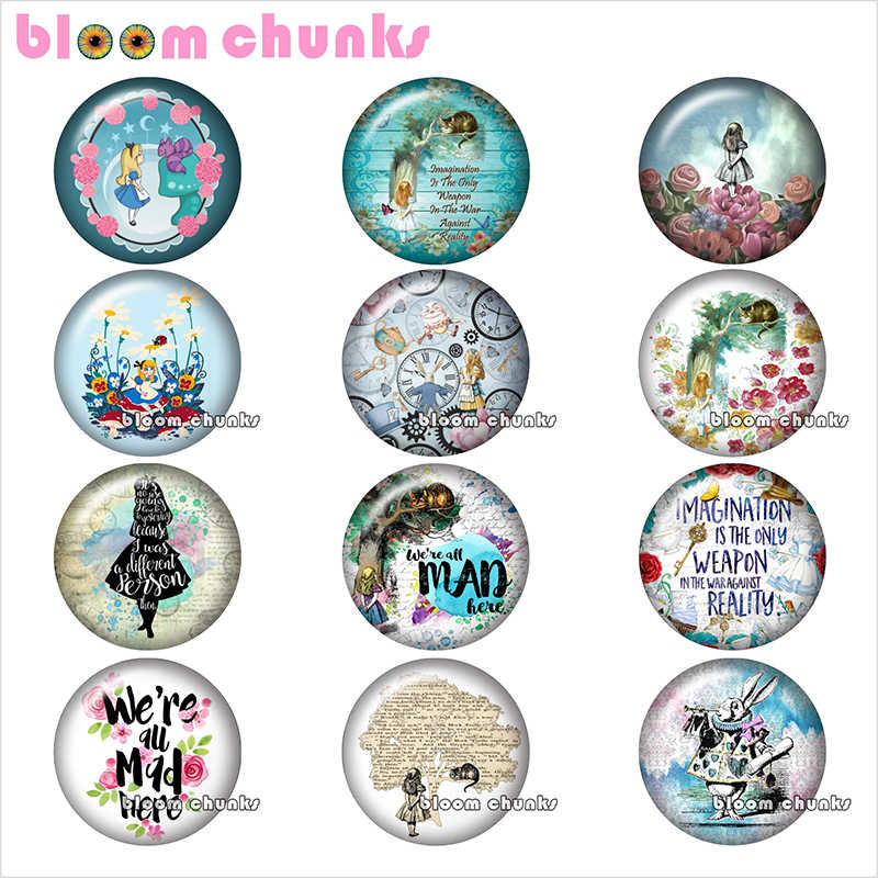Cartoon girl rabbit Round photo glass cabochon demo flat back Making findings 12mm/18mm/20mm/25mm TL1072