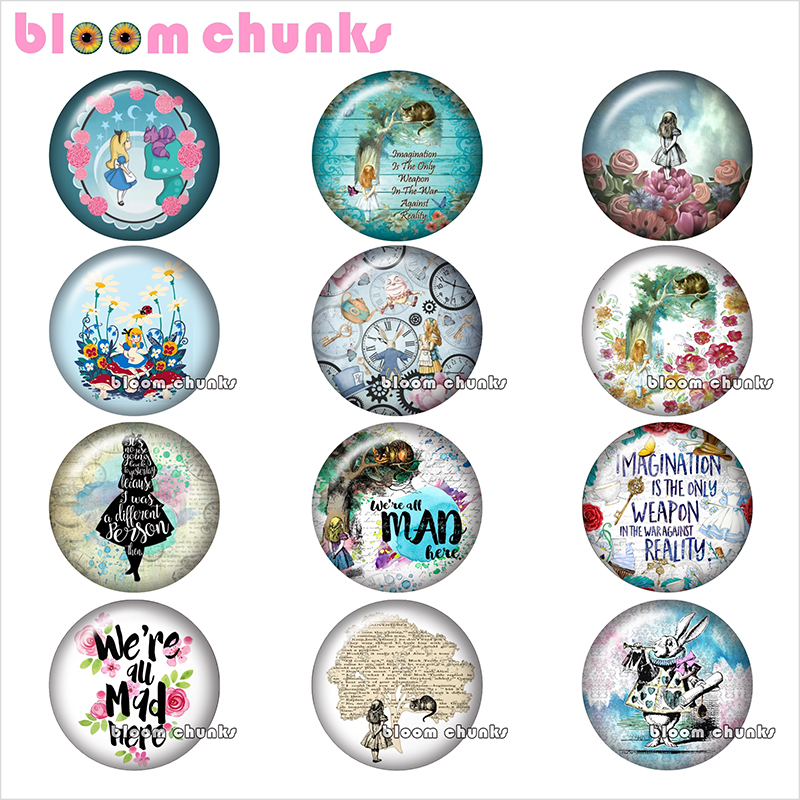 Cartoon Alice girl rabbit Round photo glass cabochon demo flat back Making findings 12mm/18mm/20mm/25mm TL1072