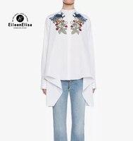 Runway Blouses Women Long Sleeve Top Women 2017 Floral Embroidery Blouse Women