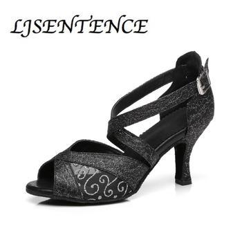 Black Latin Dance Shoes Ladies Girls Women Woman Salsa Latin Ballroom Adult Dance Training Shoes With Mesh Cuban Heel LJSENTENCE g d wilson cuban dance op 86