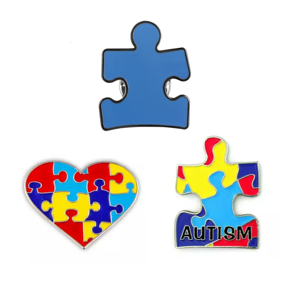 Blue Autism Heart Puzzle lapel badges pins brooches for event gifts Iron butterfly button Free shipping