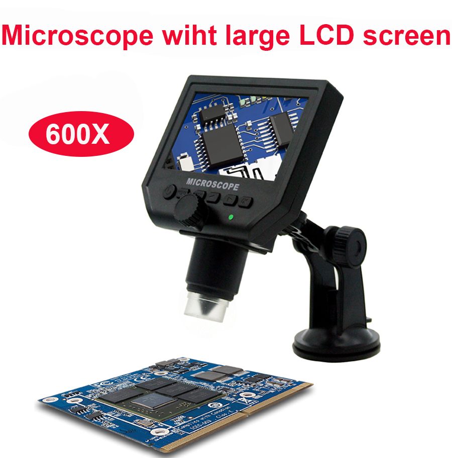 600X microscope electronic USB microscope digital video microscope camera 4.3 inch HD Endoscope magnifying Camera+LED lights 600x portable 4 3inch hd oled display lcd digital video microscope magnifying glass with 8 led light