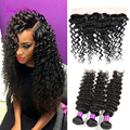 Curly Weave Human Hair With Closure Brazilian Curly Hair Weave With Frontal Closure Queen Hair Brazilian Deep Wave With Closure