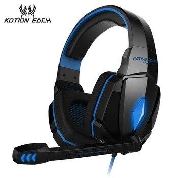 KOTION каждый G4000 Gaming Headset игра наушники глубокий бас стерео наушники с светодиодный свет микрофон для портативных ПК PS4 xbox