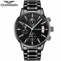 Mens Watches Top Brand Luxury GUANQIN Chronograph 6 Hands Men Business Casual Quartz Watch Stainless Steel