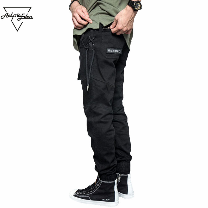 Aelfric Eden Mens Warm Black Feet Cargo Pants Criss-Cross Joggers Belt Casual Pants Zipper Hip Hop Sweatpants Trousers PA005