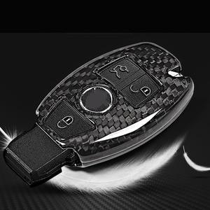Image 3 - Real Carbon fiber Car Key Shell Cover Trim For Mercedes benz W222 S Class E Class W213 C Class w205 GLC X253