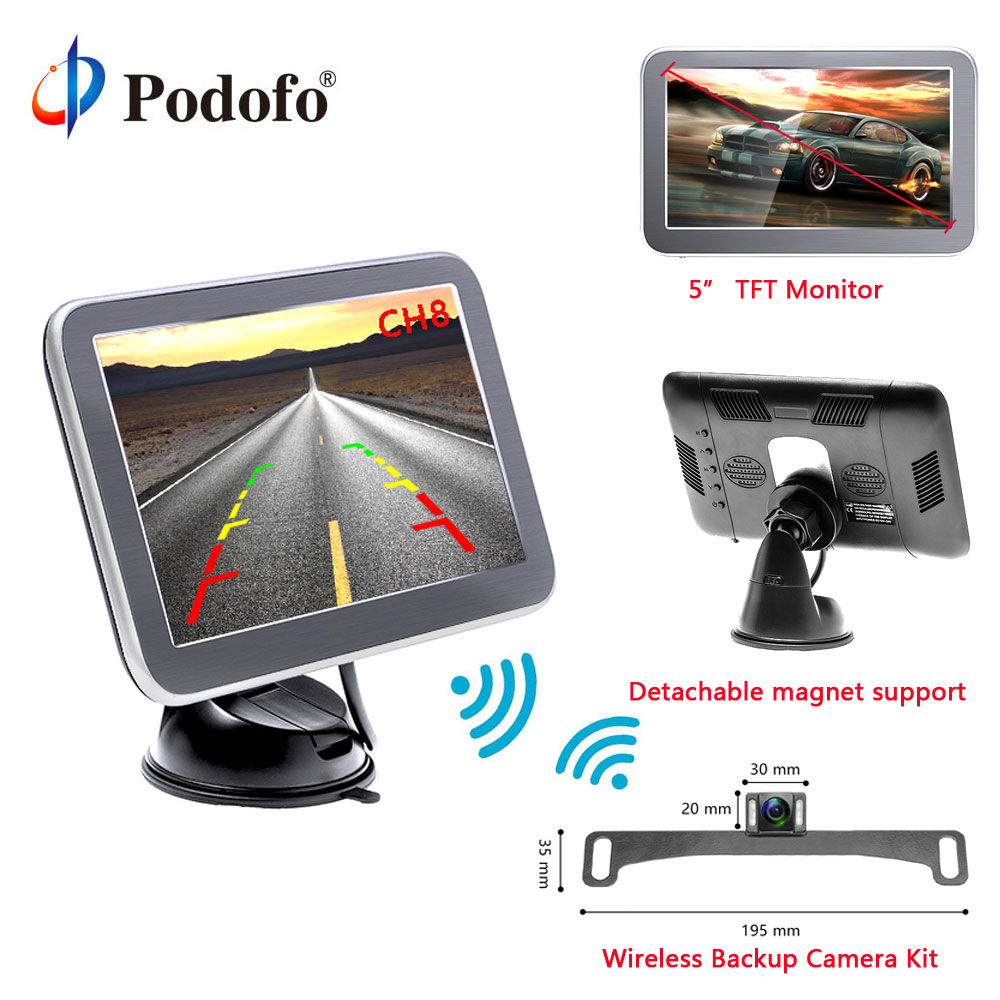 Podofo Wireless Parking Reverse System Receiver Backup Camera 5 Rearview TFT LCD Monito Auto Parking Backup
