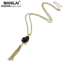 MANILAI Fashion Tassel Stone Pendants Necklaces For Women Geometric Stone Resin Simple Matt Copper Chain Long