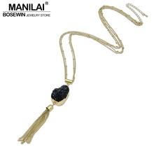 MANILAI Fashion Tassel Stone Pendants Necklaces For Women Geometric Stone Resin Simple Matt Copper Chain Long Necklaces CE3886
