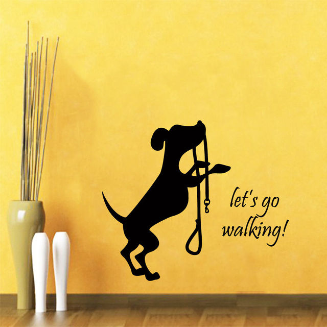 Dog Wall Decal Quote Let\'s Go Walking Pet Shop Vinyl Sticker Bedroom ...