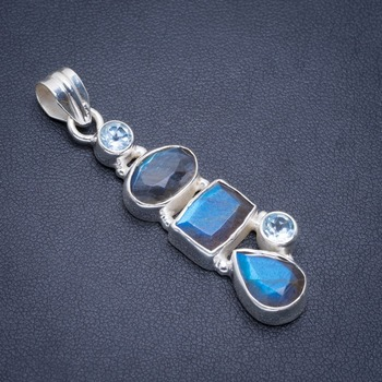 "Natural Blue Fire Labradorite and Blue Toapz Handmade Unique 925 Sterling Silver Pendant 2"" A1890"