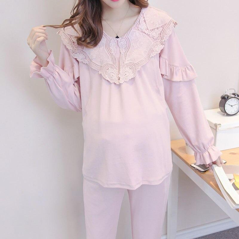 2018 Fashion Lace Long Sleeve Nursing Clothes Spring Nursing Pajamas Pregnant Pyjama Breastfeeding Pregnancy Nightgrown A029