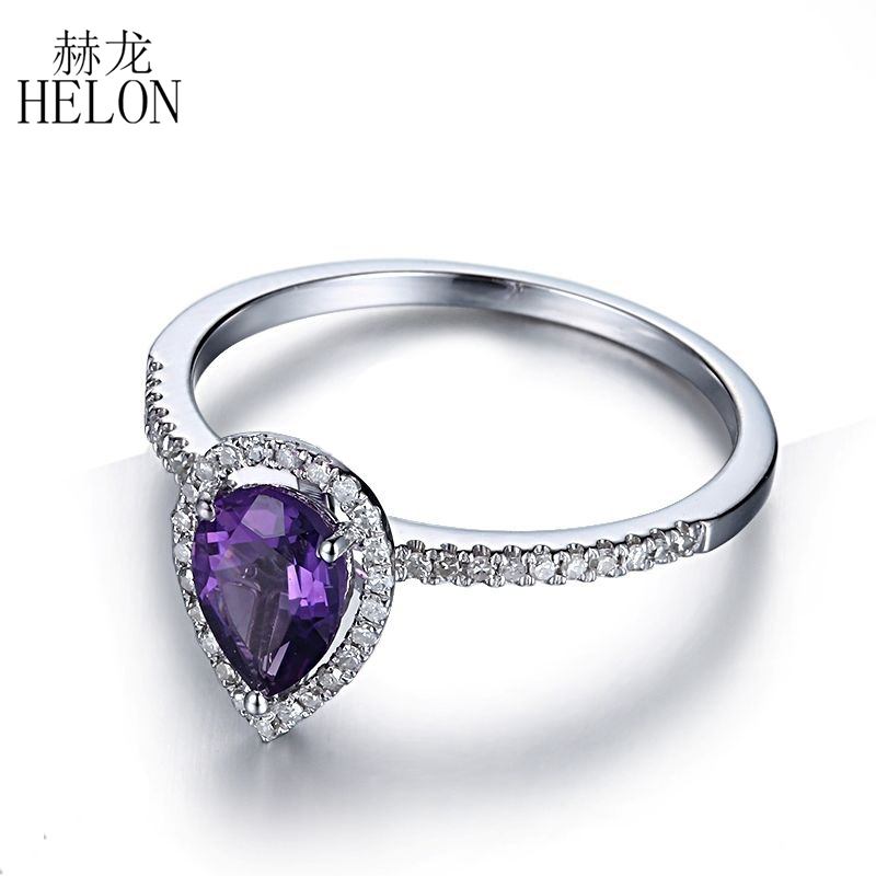 HELON 925 Sterling Silver 100% Genuine Amethyst Pave Natural Diamonds Wedding Fine Ring Beautiful Exquisite Fine Jewelry Women