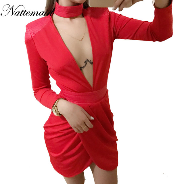 NATTEMAID 2017 New Arrival women dress deep V neck long sleeve bodycon dresses Sexy ladies red party wear mini vestidos