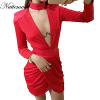 2017 New Arrival Women Dress Deep V Neck Long Sleeve Bodycon Dresses Sexy Ladies Red Party