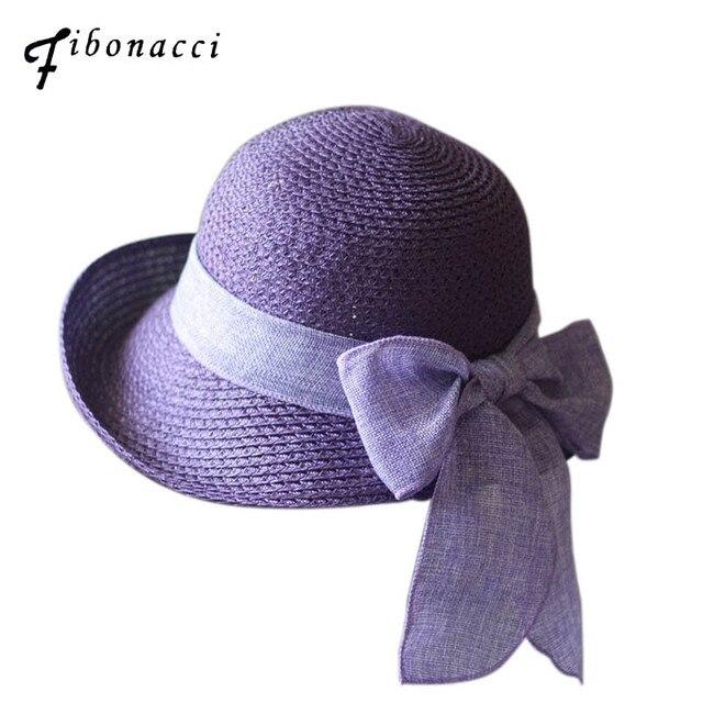 Fibonacci 2018 New Summer Female Sun Hat Bow Ribbon Panama Beach Hats for Women  Chapeu Feminino aeffc088a9f4
