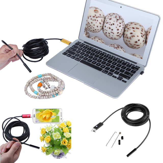 5M 6 LED 7.0mm Lens 2IN1 Android Endoscope USB Waterproof Borescope Tube Pipe Camera for Samsung Galaxy S4 S5 S6, Note 2 3 4 5