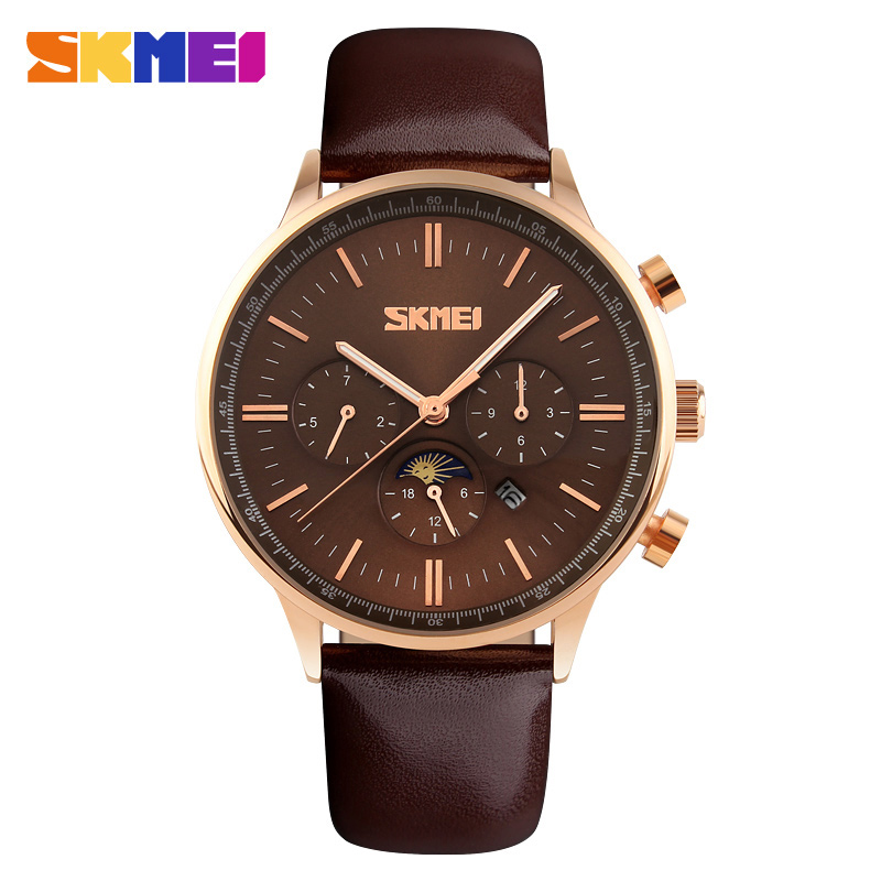 2017 SKMEI Brand Men's Quartz Business Watch Men Sports Watches Fashion Genuine Leather Date Relogio Masculino Wristwatches 9117 2017 new brand skmei men fashion quartz watch casual business date watches leather waterproof dress wristwatches