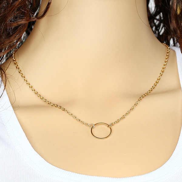 Najgorętsze mody dorywczo oryginalne kolczyki koła lasso wisiorek złoty kolorowy naszyjnik wysokiej jakości proste Choker naszyjniki kobiet