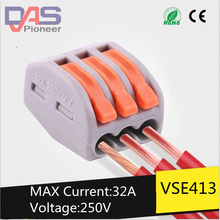 цена 100pcs  213Universal Compact Wire Wiring Connector 3 pin Conductor Terminal Block With Lever AWG 28-12 онлайн в 2017 году