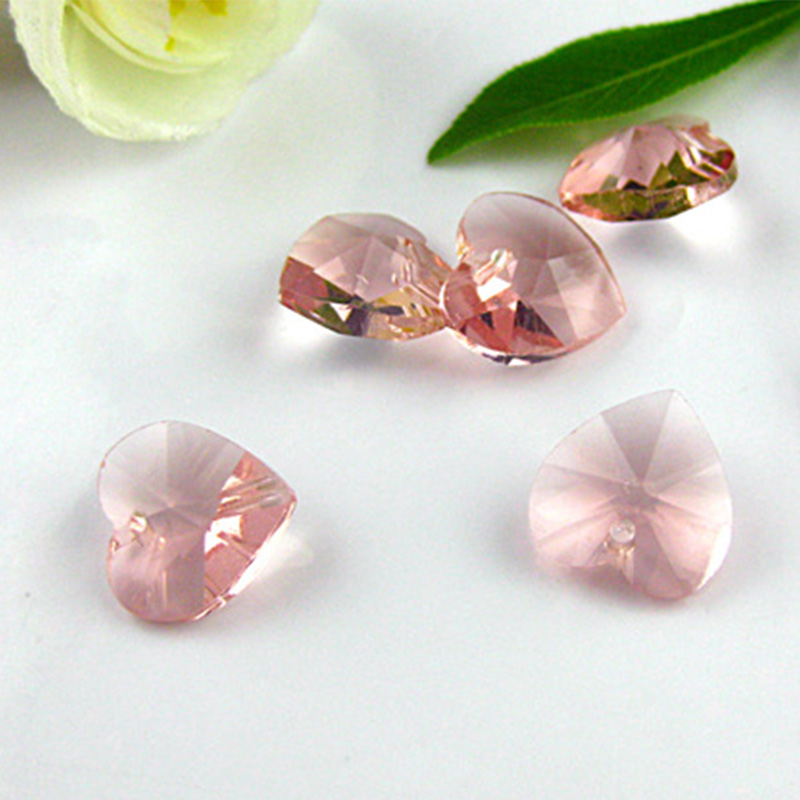 10pcs 14 mm Charms Cœur Faceted Crystal Glass Loose Spacer Beads Jewelry Making